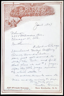 "Letter from Lester Grimes ""The Mystery Man"""