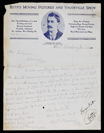 Ruth's Moving Pictures and Vaudville Show Letter