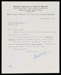 Typed Letter Signed by Harry Price