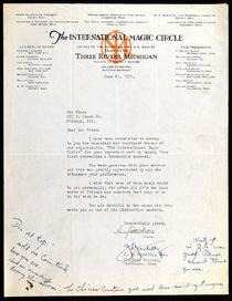 Letter to Doc Nixon from the International Magic Circle