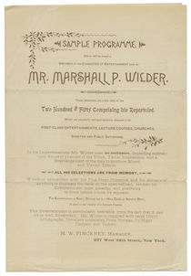 Mr. Marshall P. Wilder Sample Programme