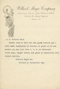 Willard Magic Company Correspondence