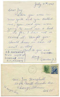 Note from D.G. Mackintosh (Hardeen, Jr.) to Jay Marshall