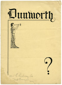 Frederick W. Dunworth Folded Advert