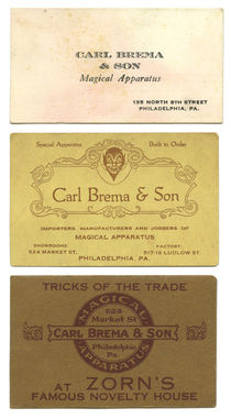 Trio of Carl Brema and Son Business Cards