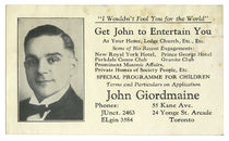 John Giordmaine Advert