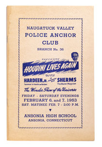 Naugatuck Valley Police Anchor Club Branch No. 36 Presents Houdini Lives Again