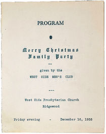 Merry Christmas Family Party Program, West Side Men's Club