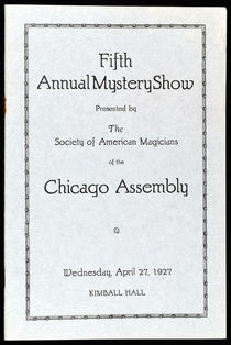 Fifth Annual Mystery Show Program for the Society of American Magicians, Chicago Assembly