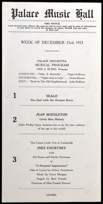 Palace Music Hall Program, Frank Van Hoven
