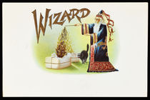 Wizard Embossed Cigar Box Label