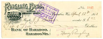 Henry Ringling Signed Check