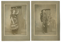 Pair of Knife Throwing Cabinet Cards