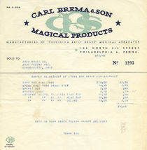 Carl Brema and Son Magical Products Sample Invoice