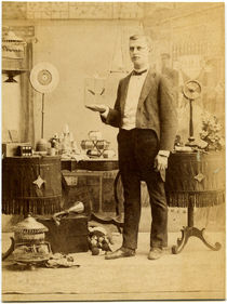 Magician with Bird Cage Card Photograph